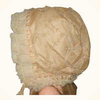 Embroidered Net Over Champagne Silk Cap for Big Doll