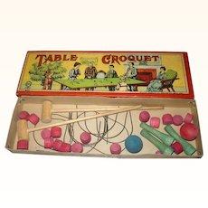 1900 Milton Bradley Table Croquet Original Box w Great Color & Graphics