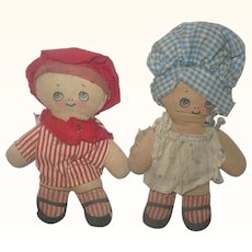 Pair7 Inch 1920's Printed Cloth Googly Kids Sun Bonnet and Sailor