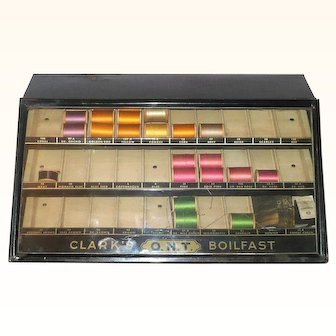 """15"""" Painted Metal Coats and Clark Store Thread Display with 32 Spools"""