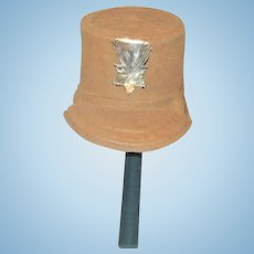 19th Century Molded Paper Doll Size Military Cap with Dresden Star Ornament