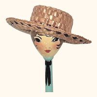 19th Century Doll Size or Salesman Sample  2 Tone Woven Straw Boater