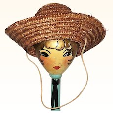 19th Century Woven Straw Doll Hat w Deep Crown  Turned Up Brim Chin Strap