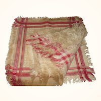 One Dozen Edwardian 15 Inch Ivory and Turkey Red Damask Fringed Napkins Never Used