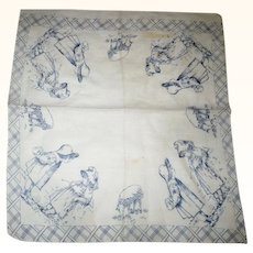 19th Century Roller Printed Indigo on White Printed Child's Hanky Girls in Sunbonnets