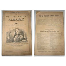 1861 Old Franklin Almanac E. Price Philadelphia