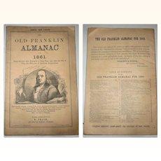 1861 Old Franklin Almanac E. Price Philadelphia