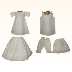 19th Century Linen Shift + Slip + Winter Petticoat + Lawn Petticoat + Split Seat Pantaloons for Small Doll