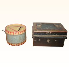 Old Doll Sized Painted Tin Money Box and a Drum Form Noise Maker