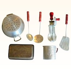 Toy Red Handle Beater +  Spatula + Strainer + Spoon + Colander + Measuring Cup +Loaf Pan