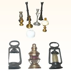 Old Doll House Lamps Candle Sticks Lanterns
