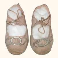 Old 3 Inch Long Pink Linen Shoes for German Doll + Pink Mesh Stockings