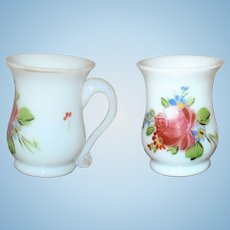 19th Century Toy or Miniature Free Blown Opalescent Handled Mug