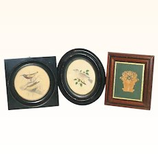 2 Small 19th Century Framed Bird Water Colors and  Framed Cut Paper Basket of Flowers