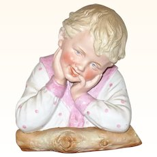 7 Inch Heubach Bust Sweet Smiling Boy Pale Blond Hair Resting on Log with Sun Burst Mark