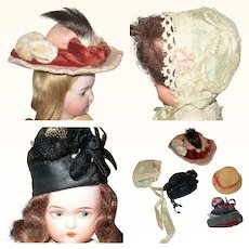 5 Old Hats for Small Antique Dolls