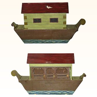 22 Inch Long 19th Century 3 Story Painted Wood Boat Bottom Ark with Eccentric Animal Group