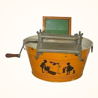 10 Inch Pumpkin Finished Tin Toy Wash Tub w Black Wash Day Motif Wringer Wash Board