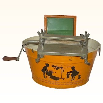 10 Inch Pumpkin Finished Tin Toy Wash Tub w Black Wash Day Motif Wringer Wash Board