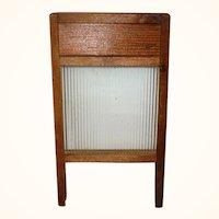 Old Toy Wash Board w Glass Scrub Surface Wood Frame Legs