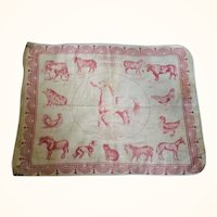 11 Inch Mid 19th Century Red on Ivory Roller Printed Child's Teaching Handkerchief Domestic Animals