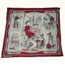 "1870 S.H.Greene & Sons R. I. Roller Printed Child's Handkerchief ""Foot Ball"""