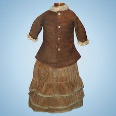 19th Century Hand Stitched 2 Piece Brown Linen and Silk Costume for Cloth  China or Papier-Mache