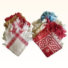 12 Edwardian Fringed Damask Mixed Group of Fringed Napkins