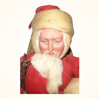 11 Inch All Original Heubach Bisque Face Father Christmas Figure  with Intaglio Eyes Red Coat Blue Pants Sack Switches
