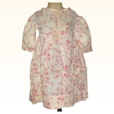 Hand Stitched 19th Century Red  Roller Printed Vine Pattern on Ivory Linen Doll Dress for Early Doll