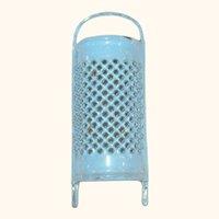 4.5 Inch Miniature or Toy Blue Confetti Graniteware Grater w Legs Handle