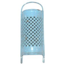 4.5 Inch Miniature or Toy Blue Confetti Graniteware Grater w Legs Handle