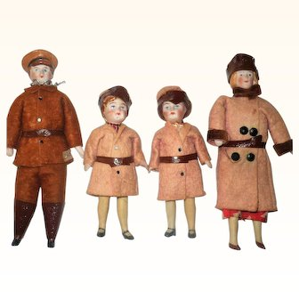 4 Doll House Dolls in Original Motoring Duster and Cap Costumes Man w Molded Cap Goggles