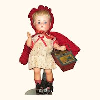 Fired Bisque Head 9 Inch A.M. 310 Just Me w Original Wig Body Finish Red Riding Hood Costume