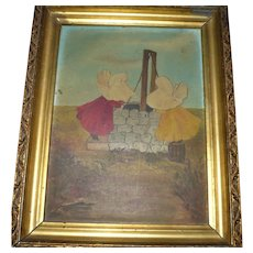 Old Oil on Board Sun Bonnet Babies at Wishing Well with New Year Wish