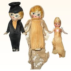 4 Inch Nippon Shoulder Jointed Betty Boop All Bisque Bride and Groom w 3 Inch Attendant
