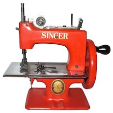 Scarce Child's Red Singer Sew Hardy 20 Sewing Machine in Box with Booklet