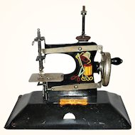 Child's Black SEW-O-MATIC Toy Sewing Machine in Red Handled Case w Table Clamp
