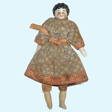 4 Inch Doll House Parian Low Brow Doll Original Limbs Linen Body and Dress