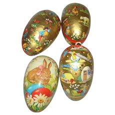 4 Lithographed German Easter Egg Candy Containers