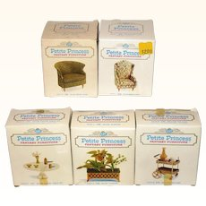 1960's Petite Princess Boxed Salon Wing Chair * Drum Chair * Coffee Table Set * Planter * Rolling Tea Cart