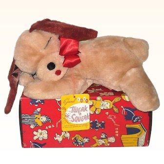 1950's Gund Tweak 'n Squeak Stuffed Floppy Dog w/Tags and Great Box