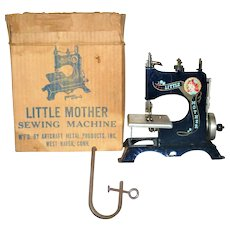 1950's Toy Artcraft Little Mother Blue Hand Crank Sewing Machine Table Clamp Original Shipping Box