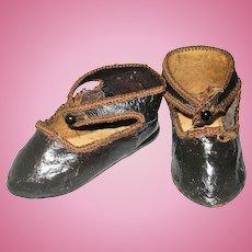 2.75 Inch 1886 Glazed Kid Signed Shoes for Size 8 Depose E J Jumeau