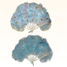 Old Sky Blue Austrian Flirty Feather Fan with Silk Rose Buds for Large Bebe