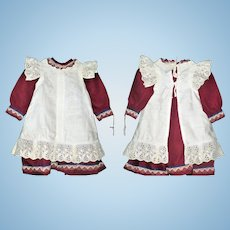 Old Burgundy Wool School Girl Dress with Pinafore for Large Character Girl or French Bebe