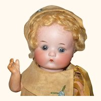 Fine 9 Inch Fired Bisque AM Just Me Character All Original Curly Blond Wig Costume and Shoes