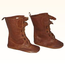 4.5 Inch Flat Sole Military Look brown Leather Boots Ties Buckles Flat Soles