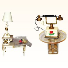 Petite Princess 4432-1 Fantasy Telephone 4429-7 Tier Table Set + Lamps and Accessories