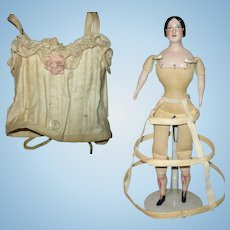 Old Doll Corset and Hoop for French Fashion China or Parian